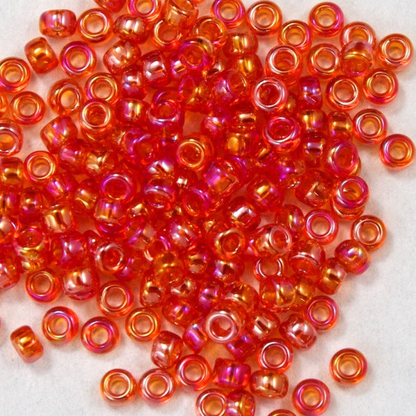 15/0 Transparent Chinese Red AB Japanese Seed Bead