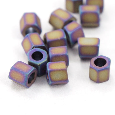 8/0 Matte Metallic Mauve Iris Hex Seed Bead (20 gm) #JQG008-General Bead