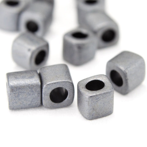 4mm Matte Gunmetal Cube Bead (20 Gm) #JQL001-General Bead