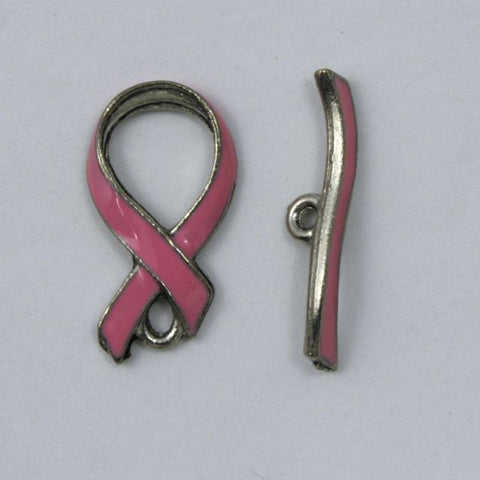 10mm x 18mm Pink Enamel Awareness Ribbon Toggle Clasp #KEY013-General Bead