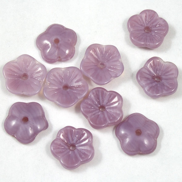 10mm Lt. Purple Opal Flower Bead (6 Pcs) #KHJ602
