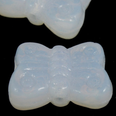 8mm White Opal Glass Butterfly-General Bead