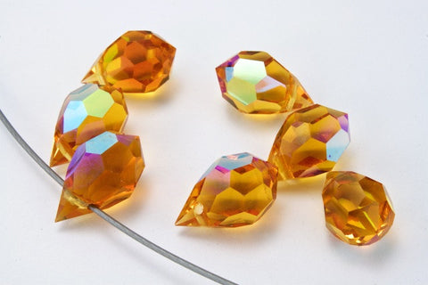 6mm x 10mm Preciosa Topaz AB Faceted Teardrop-General Bead