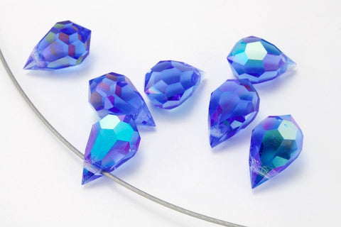 6mm x 10mm Preciosa Sapphire AB Faceted Teardrop-General Bead