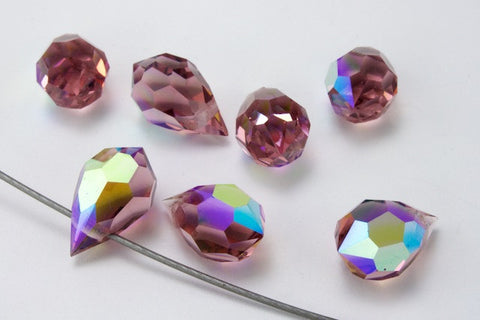 6mm x 10mm Preciosa Lt. Amethyst AB Faceted Teardrop-General Bead
