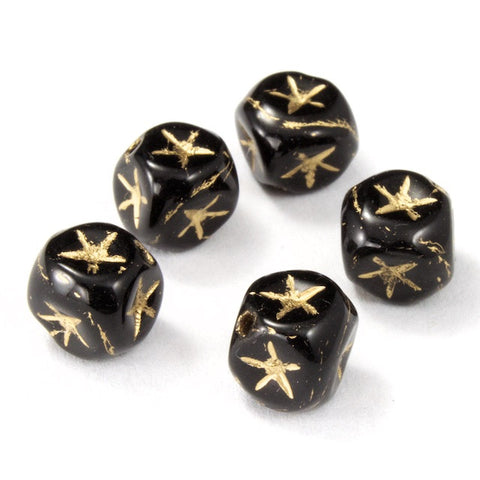 6mm Black Cube Bead with Gold Star (25 Pcs) #KSA001-General Bead
