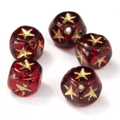 6mm Ruby Cube Bead with Gold Star (25 Pcs) #KSA004-General Bead