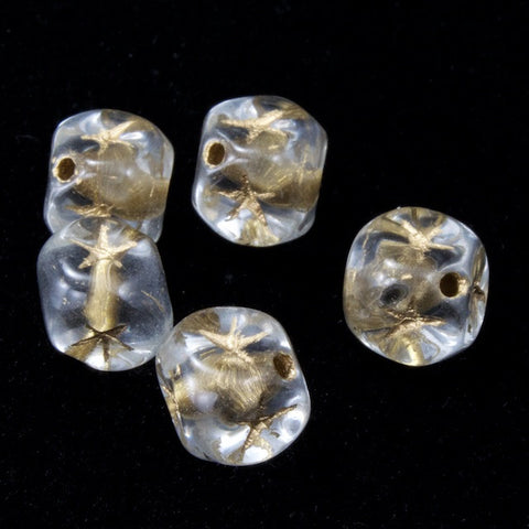 6mm Clear Cube Bead with Gold Star (25 Pcs) #KSA005-General Bead