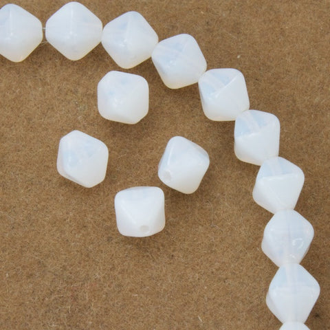 6mm White Opal Bicone-General Bead