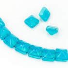12mm Opal Aqua 2 Hole Pyramid Bead (15 Pcs) #KZF102-General Bead