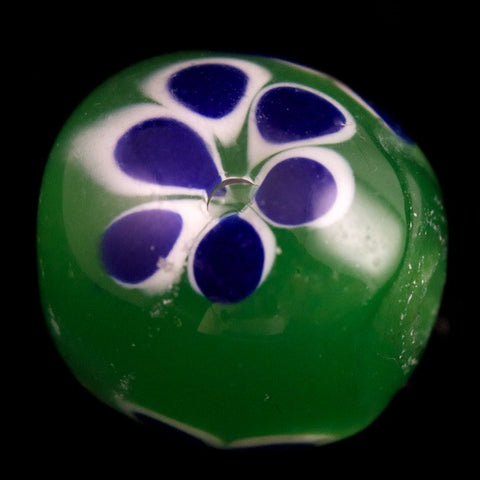 12mm Green with Blue Flowers Lampwork Bead #LCB010