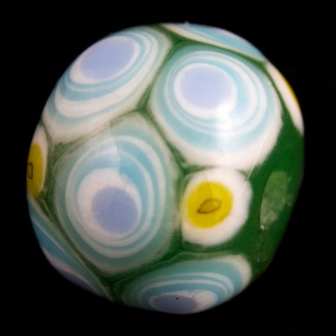 12mm Dark Green with Blue and White Circles Lampwork Bead #LCB027