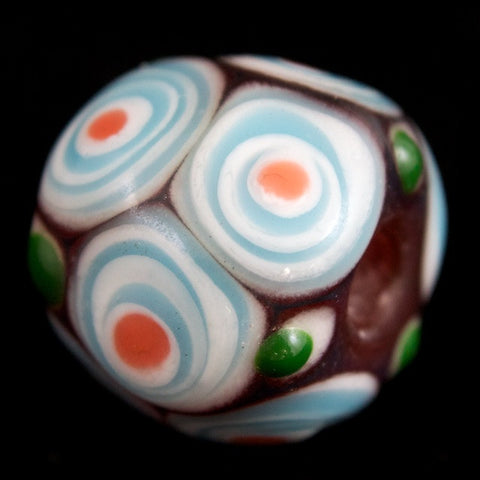 12mm Dark Red with White and Blue Circles Lampwork Bead #LCB031