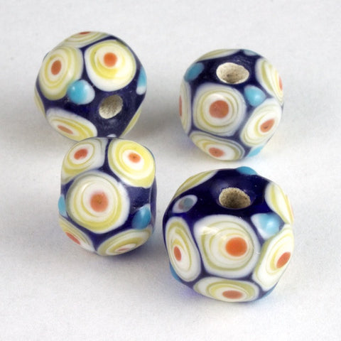 12mm Dark Blue with White and Red Circles Lampwork Bead #LCB033