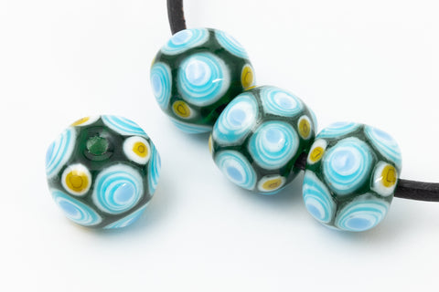 12mm Dark Green with Aqua/Blue/Yellow Dots Lampwork Bead #LCB034-General Bead