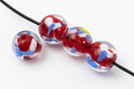 12mm Red/Blue/White Lampwork Bead #LCB055-General Bead