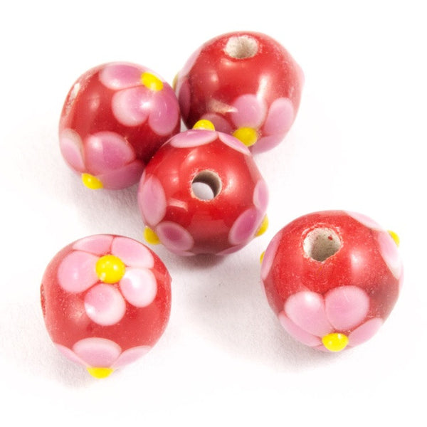 8mm Handmade Red/Pink Flower Bead (6 Pcs) #LCE002