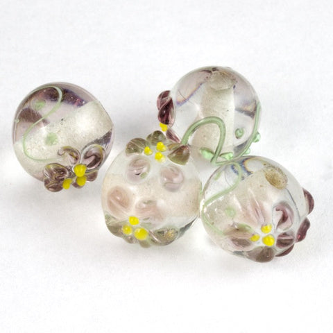 10mm Crystal/Lavender Floral Round Lampwork Bead (6 Pcs) #LCI004-General Bead
