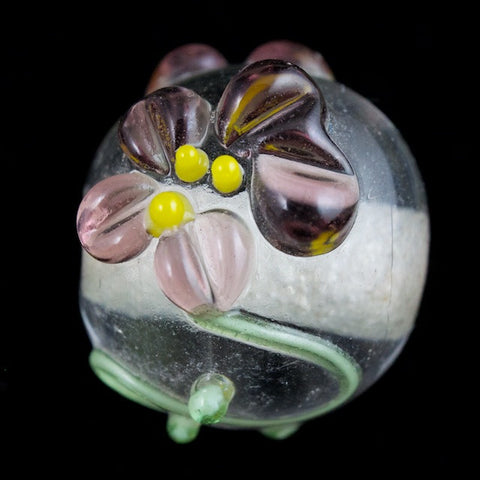 10mm Crystal/Lavender Floral Round Lampwork Bead (4 Pcs) #LCI004
