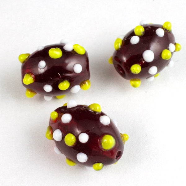 14mm Transparent Ruby Oval Lampwork Bead with White and Yellow Dots #LCO003