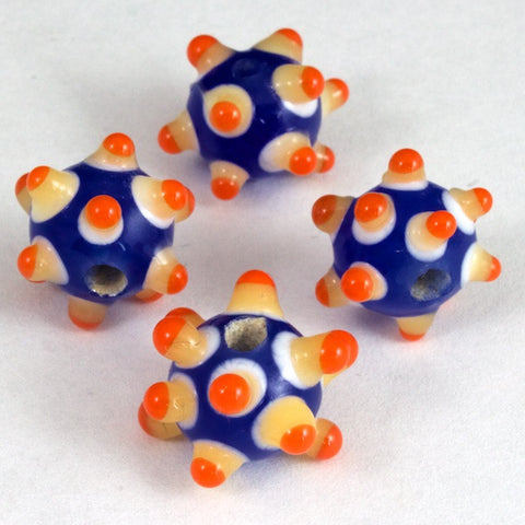 10mm Blue/Orange Sputnik Bead (4 Pcs) #LDI005