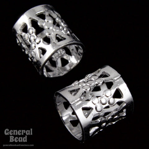 9mm Silver Filigree Tube Bead