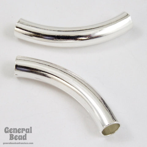 30mm Silver Tone Curved Tube Bead