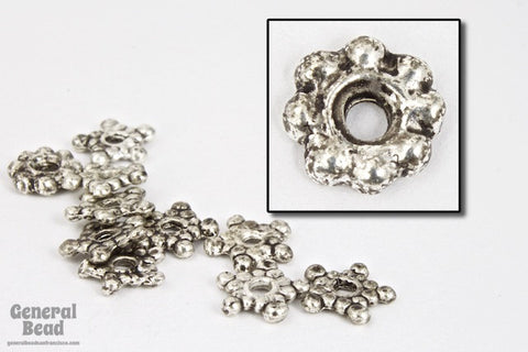 6mm Antique Pewter Beaded Star Bead-General Bead
