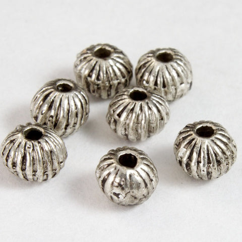 5mm Corrugated Antique Silver Bead