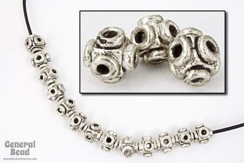 7mm Antique Pewter Cube Bead-General Bead