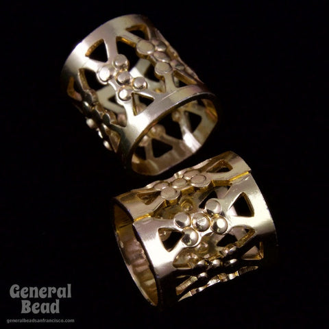 9mm Gold Filigree Tube Bead