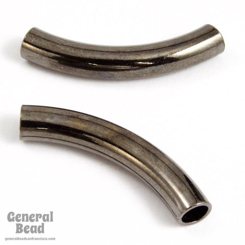30mm Gunmetal Curved Tube Bead