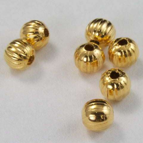 4mm Goldplate Corrugated Round Bead