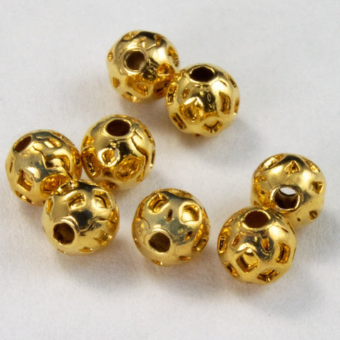 4mm Gold Dimpled Bead