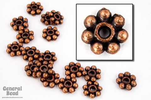 7mm Antique Copper Pewter Daisy Spacer-General Bead