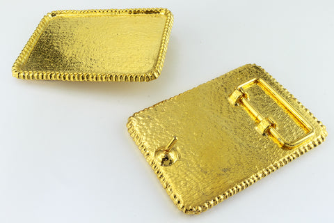 "Gold 3.5""x 2"" Rope Rectangle Belt Buckle #MFA075"