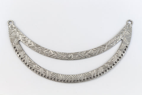 119mm Matte Silver Textured Open Collar Pendant with 43 Holes #MFB165