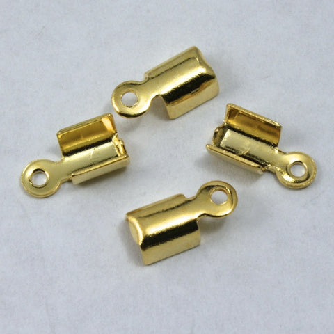 4mm x 6mm Fold-Over Gold Tone Cord Crimp with Loop