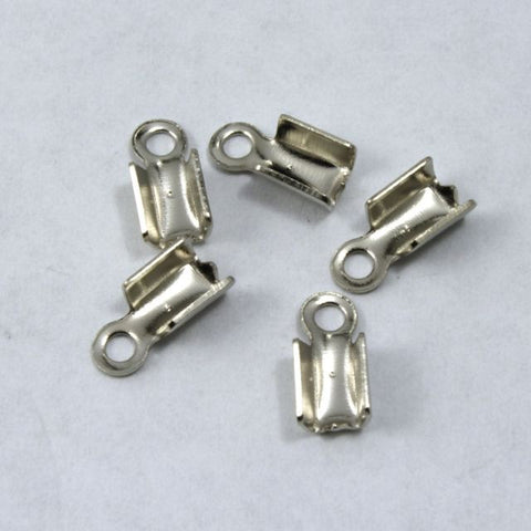 4mm x 6mm Fold-Over Silver Tone Cord Crimp with Loop