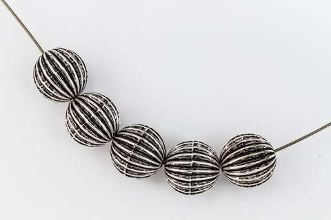 12mm Antique Silver Ribbed Melon Bead #MPA006