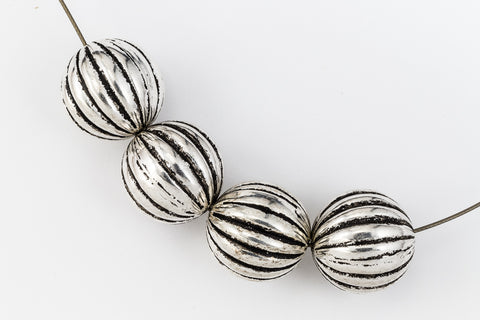 14mm Antique Silver Ribbed Melon Bead #MPA007