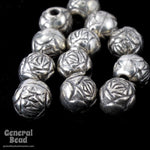 6mm Antique Silver Rose Bead #MPA015-General Bead