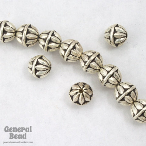 8mm Antique Silver Ribbed Star Bead (10 Pcs) #MPA019