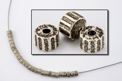 4mm Antique Silver Ridged Drum Bead #MPA027-General Bead