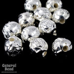 6mm Bright Silver Rose Bead (12 Pcs) #MPB015-General Bead
