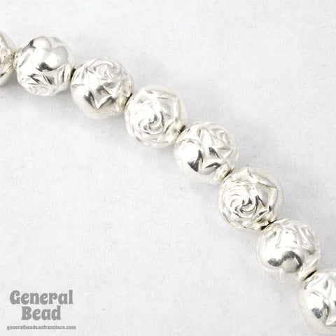 8mm Bright Silver Rose Bead (12 Pcs) #MPB016-General Bead