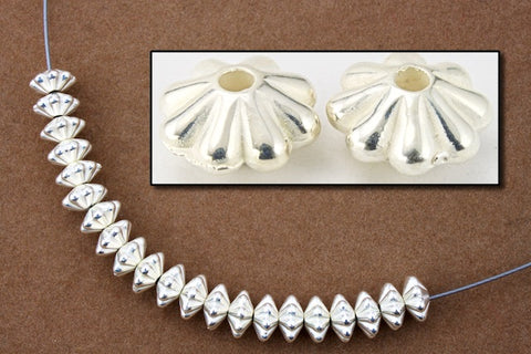 6mm Silver Grooved Rondelle #MPB030-General Bead