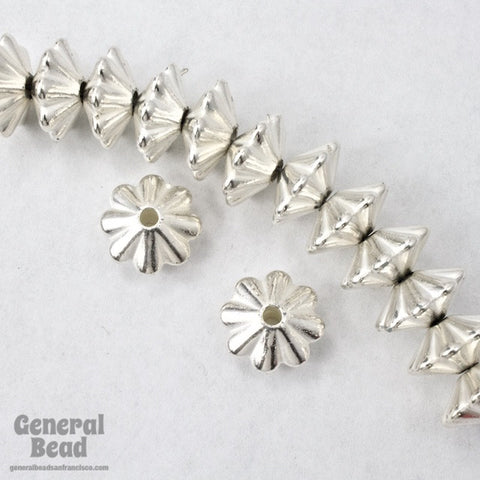 10mm Bright Silver Grooved Rondelle (25 Pcs) #MPB031-General Bead