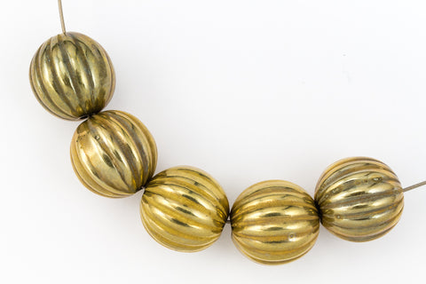 14mm Antique Gold Ribbed Melon Bead #MPC007