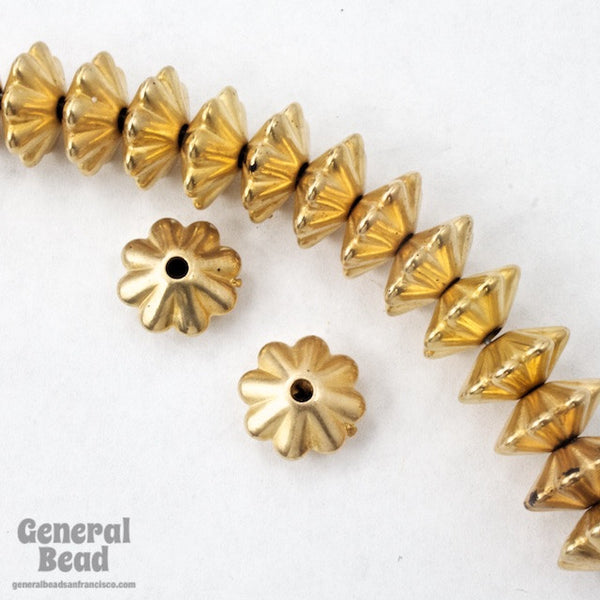 10mm Bright Gold Grooved Rondelle